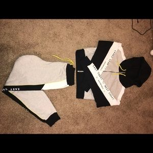 Matching sporty sweatpants and sweatshirt
